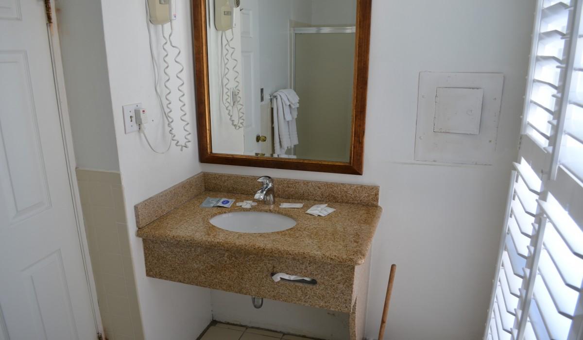 Vanity in Private Bathroom at Alpha Inn